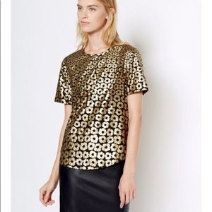 EQUIPMENT Silk Gold Foil Floral Printed Riley Top